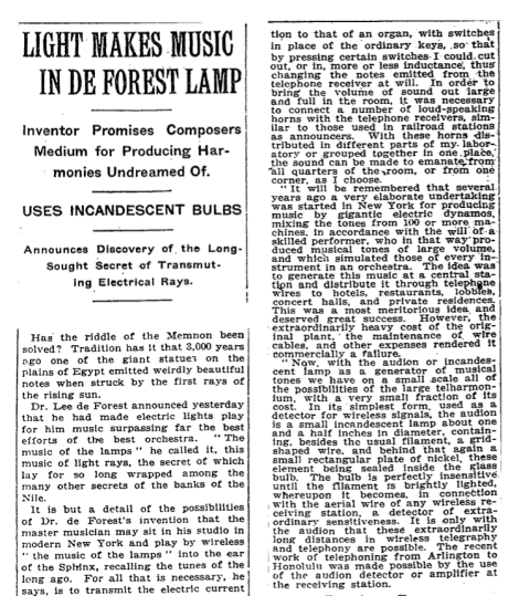"""Detail of the article """"Light Makes Music In De Forest Lamp,"""" printed in the New York Times, October 4, 1915."""