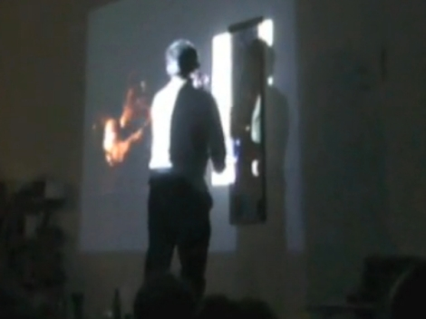 "Seth Kim-Cohen, ""The bee in bathos equals the pee in pathos (except at the bathhouse)"" performance still, January 2013."