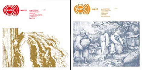 Stephen O'Malley. Sunn O))) White1 (2003) and White2 (2004) CD covers, Southern Lord.