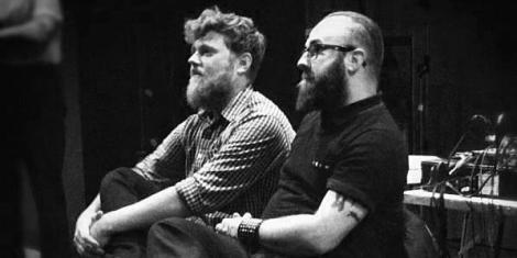 Jon Satrom (left) and jonCates (right) at Post-Static Q&A, Intuit, Sept. 20, 2012 . Image by Shawne Michaelain Holloway.