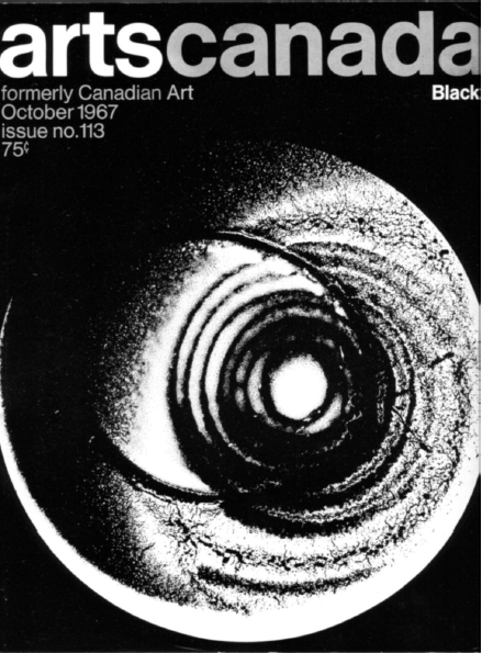 "artscanada. (1967). Cover: Aldo Tambellini's lumagram from hand-painted slide for Black Zero in ""Black,"" artscanada, 113, p. 1."