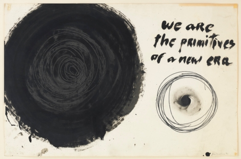"Aldo Tambellini, ""We Are the Primitives of a New Era"", from the Manifesto Series, 1961,  Duco, acrylic, and pencil on paper, 25 x 30 in. (63.5 x 76.2 cm)"
